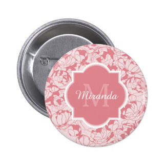 Monograma femenino floral rosa claro moderno con chapa redonda 5 cm