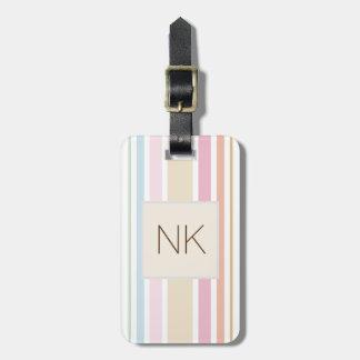 monograma fino moderno del color en colores pastel etiqueta para maletas