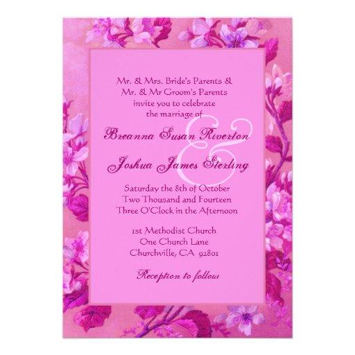 Monograma floral 02 del boda del marco rosado del  invitaciones personales