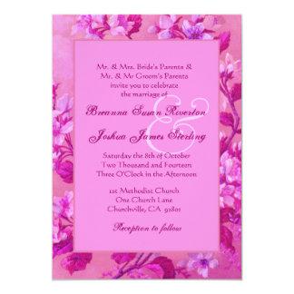 Monograma floral 02 del boda del marco rosado del invitación 12,7 x 17,8 cm