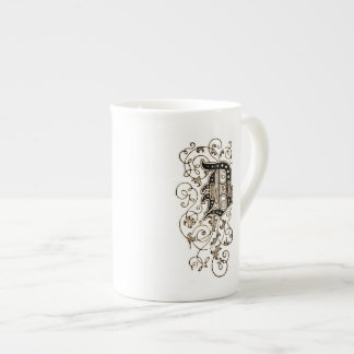 Monograma floral adornado 'D Taza De China