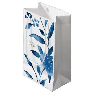 Monograma floral azul del boda del Chinoiserie Bolsa De Regalo Pequeña