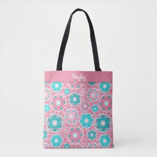Monograma floral de la aguamarina rosada fabulosa bolso de tela
