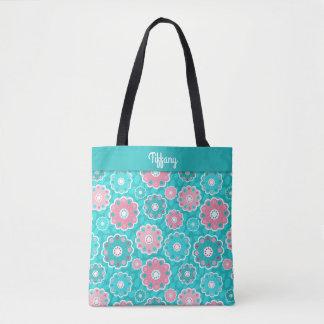 Monograma floral de la aguamarina rosada moderna bolso de tela