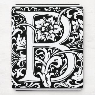 Monograma floral de la letra B del vintage Alfombrilla De Ratón