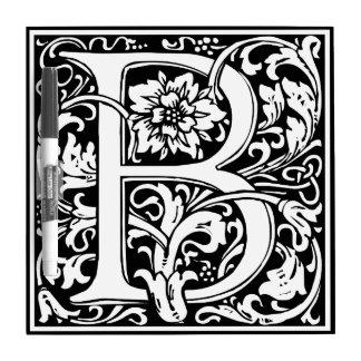 Monograma floral de la letra B del vintage Pizarra Blanca