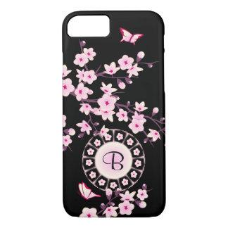 Monograma floral de las flores de cerezo funda iPhone 7