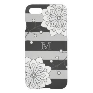 Monograma floral de plata negro del modelo rayado funda para iPhone 7