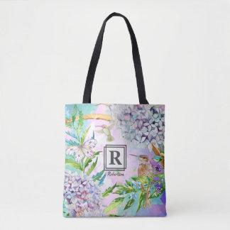 Monograma floral del jardín del colibrí del bolso de tela