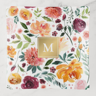 Monograma floral del oro de la primavera