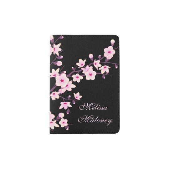 Monograma floral del rosa del negro de las flores portapasaportes