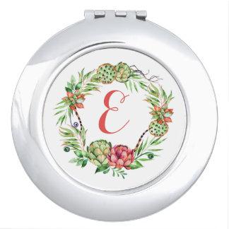 Monograma floral del Succulent el | del boda del Espejo Para El Bolso
