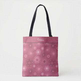 Monograma floral entonado rosado silenciado bolso de tela