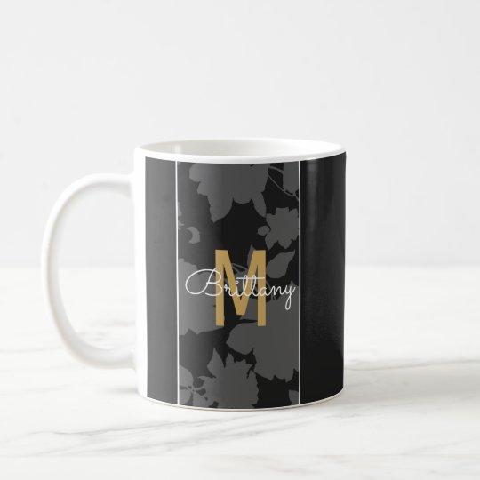 Monograma floral negro y gris elegante del oro taza de café