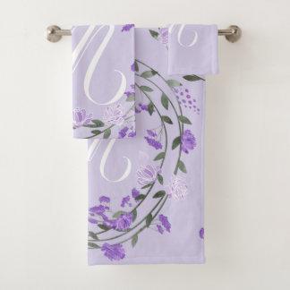 Monograma floral púrpura de la guirnalda