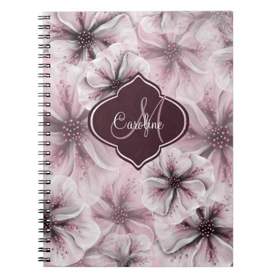 Monograma floral rosado de Borgoña Libros De Apuntes Con Espiral