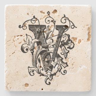 Monograma floral 'V Posavasos De Piedra