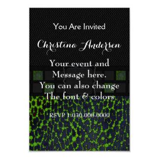Monograma fluorescente de Bling del leopardo de la Invitación 8,9 X 12,7 Cm