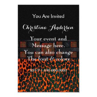 Monograma fluorescente del guepardo de Bling Invitación 8,9 X 12,7 Cm