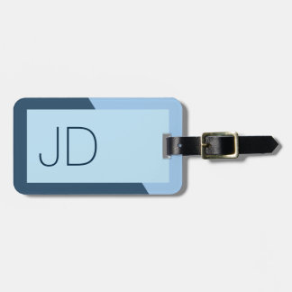 Monograma geométrico azul simple fresco etiqueta para maletas
