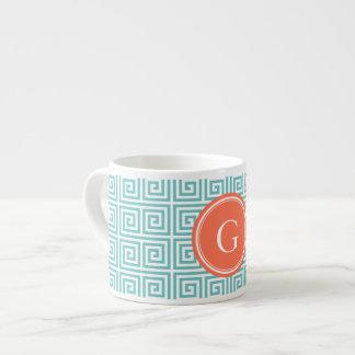 Monograma geométrico dominante griego de los taza de espresso