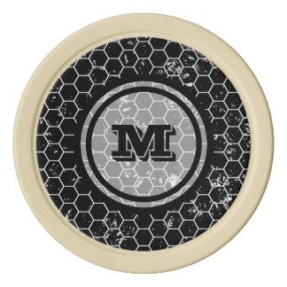 Monograma geométrico negro fichas de póquer