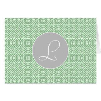 Monograma geométrico trazado marroquí gris y verde felicitacion