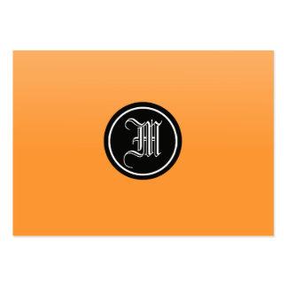 Monograma gótico anaranjado tarjetas de visita grandes