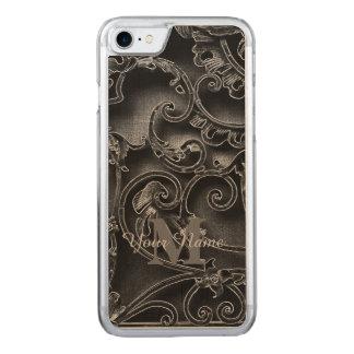Monograma gótico negro del modelo funda para iPhone 7 de carved