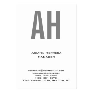 Monograma gris blanco simple llano único de moda tarjetas de visita grandes