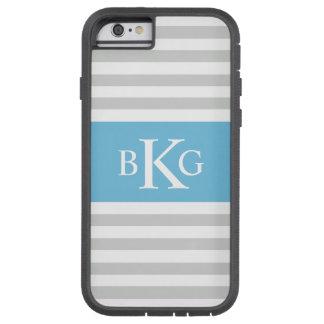Monograma gris de las rayas azules de cielo funda de iPhone 6 tough xtreme