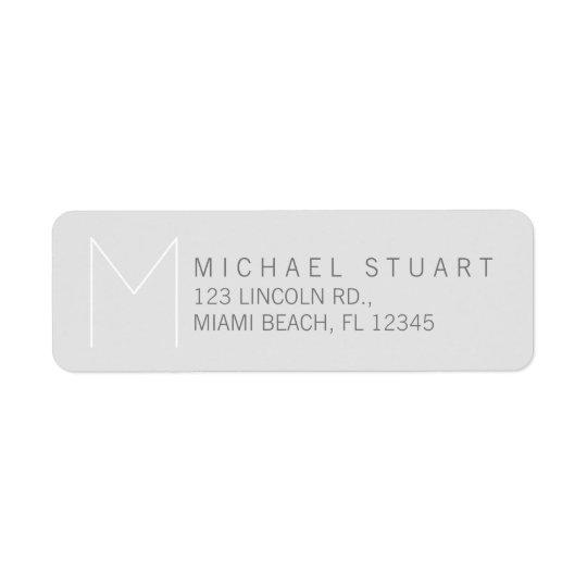 Monograma gris elegante moderno simple etiquetas de remite
