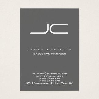 Monograma gris oscuro moderno profesional tarjeta de visita
