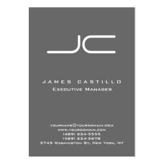 Monograma gris oscuro moderno profesional tarjetas de visita grandes