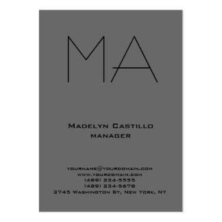 Monograma gris oscuro profesional único de moda tarjetas de visita grandes
