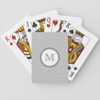 Monograma gris simple del modelo de Quatrefoil Cartas De Póquer