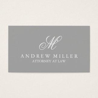 Monograma gris y blanco profesional elegante tarjeta de negocios