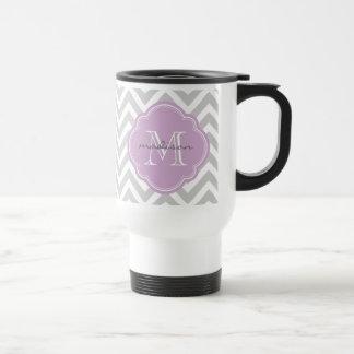 Monograma gris y de la lila de Chevron del persona Taza De Café