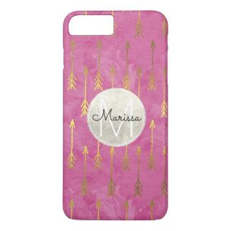 Monograma ideal rosado de las flechas de la funda para iPhone 8 plus/7 plus