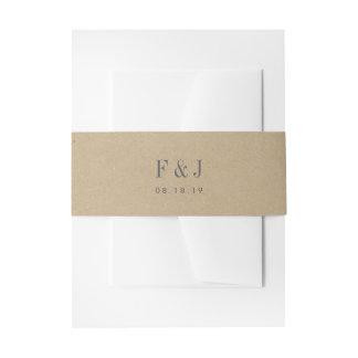 Monograma impreso de Kraft Cintas Para Invitaciones