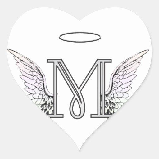 Monograma inicial de la letra M con las alas y Pegatina En Forma ...