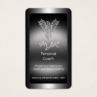 Monograma, instructor personal, plata-mirada tarjeta de visita
