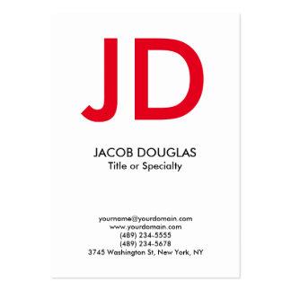 Monograma intrépido gris blanco moderno de moda tarjetas de visita grandes