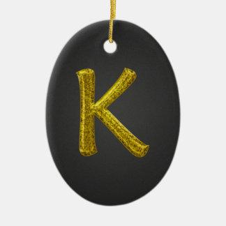 Monograma K del brillo del oro Adorno Navideño Ovalado De Cerámica