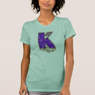 Monograma K púrpura del brillo Camiseta