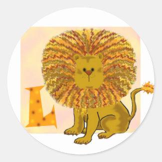 Monograma L del león Etiquetas Redondas
