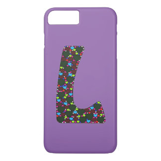"Monograma ""L"" iPhone de los corazones de la Funda iPhone 7 Plus"