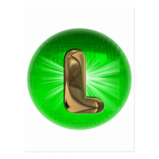 Monograma L luz verde del oro del TAXI Postal