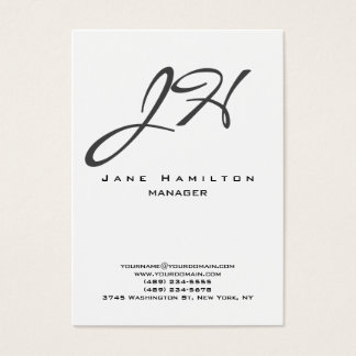 Monograma llano moderno vertical blanco negro de tarjeta de negocios