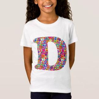 Monograma llenado corazón dinámico colorido de la camiseta